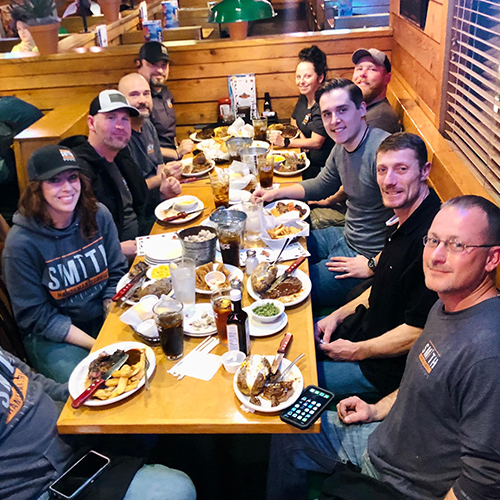 The Smith Handyman team at dinner