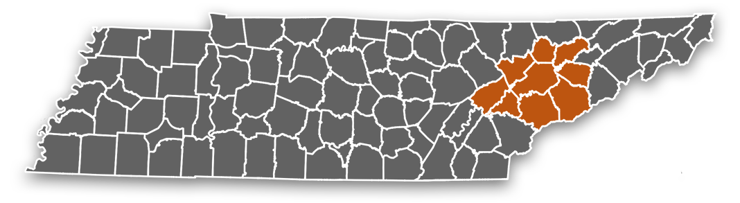 Tennessee graphic showing the counties that we serve