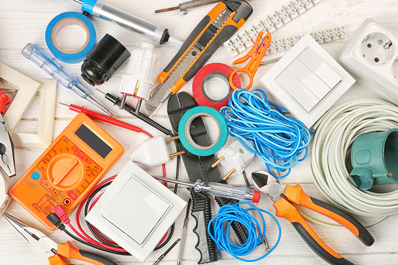 Electrical tools on table