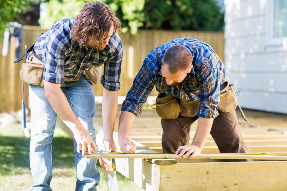Handymen building deck