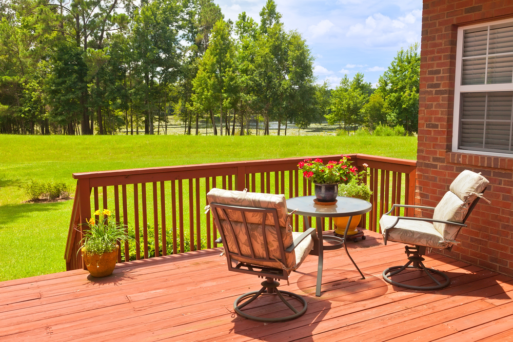 Backyard deck in the summer