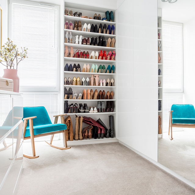 Shoe area in closet