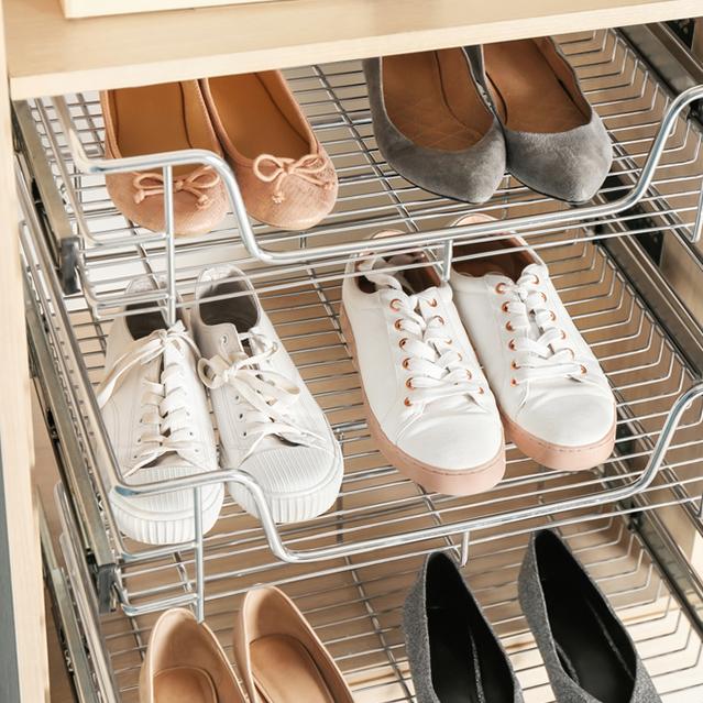 Shoe storage for closet organization
